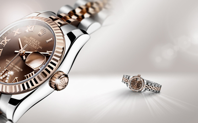 La Lady-Datejust en Rolesor Everose et son VI serti de diamants.