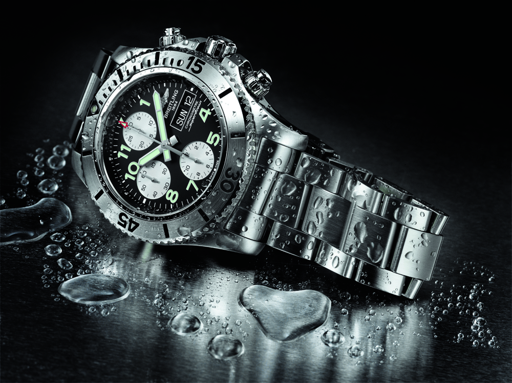 Breitling black superocean heritage limited edition green bezel.