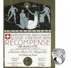 Médaille d'or en 1914 à l'Exposition Nationale de Berne