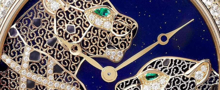 Montre Ronde Louis Cartier XL décor panthères filigrane - SIHH 2015