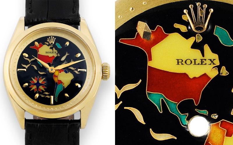 Rolex réf 6284 au cadran en émail cloisonné Two Americas de Marguerite Koch - Prix : 717 000 $