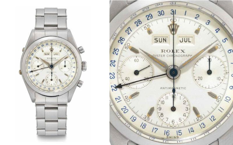 Rolex triple calendrier ou triple quantième en acier réf 6236 - Prix : 638 500 $