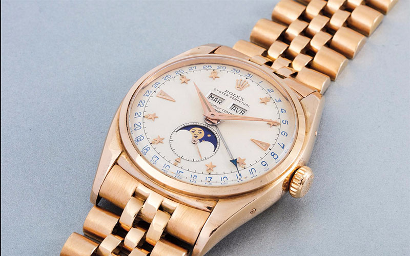 Rolex Réf 6062 triple calendrier en or rose